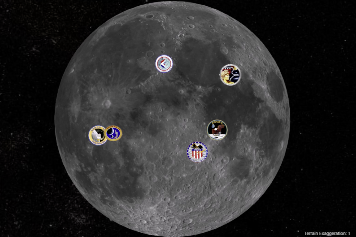 Apollo Lunar Landing Sites video still image showing locations of landing sites