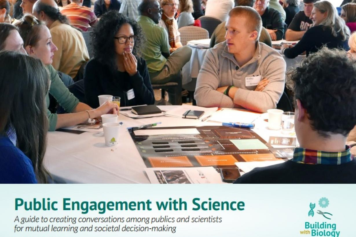 Group of forum participants on cover of Building with Biology Public Engagement with Science guide