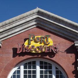 Port Discovery logo on building