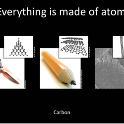 Nano 101 slide presentation showing pencil graphite at the molecular level