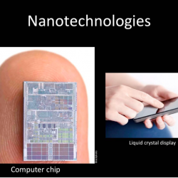 Nano 101 slide presentation showing tiny electronics compared to a finger