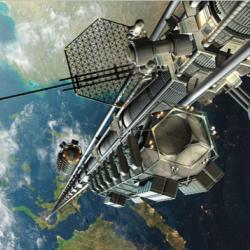 An artist's illustration of what a space elevator would look like from space.