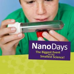 NanoDays logo with child looking at ferrofluid in a tube