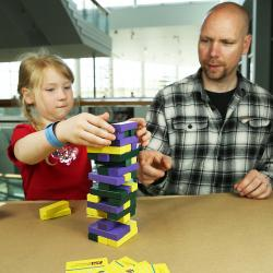 Parent and child making block tower in Future Builder SustainABLE activity