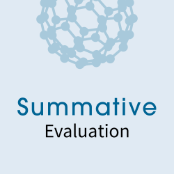 Summative Evaluation icon that incorporates a buckyball