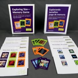 Exploring Size - Memory Game activity components including signs, activity materials and guides.
