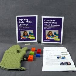 Mitten Challenge  activity components including signs, activity materials and guides.