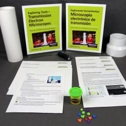 Exploring Tools - Transmission Electron Microscopes activity components including signs, activity materials and guides.